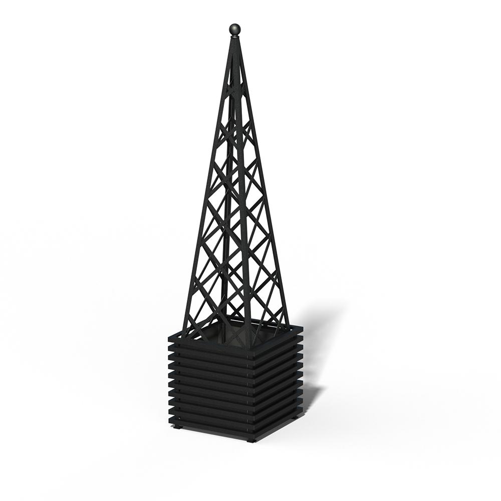 E23-PY-Y IBIZA Großer Pflanzkübel mit Pyramide RAL 9005 black