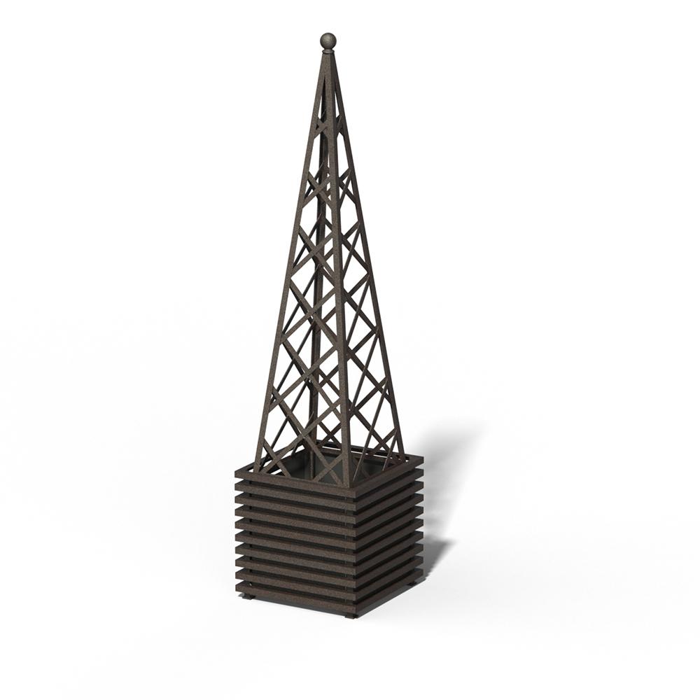 E23-PY-Y IBIZA Großer Pflanzkübel mit Pyramide Rusty Iron