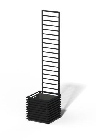 E23-Y-LHD IBIZA Großer Kübel mit Trellis RAL 9005 black