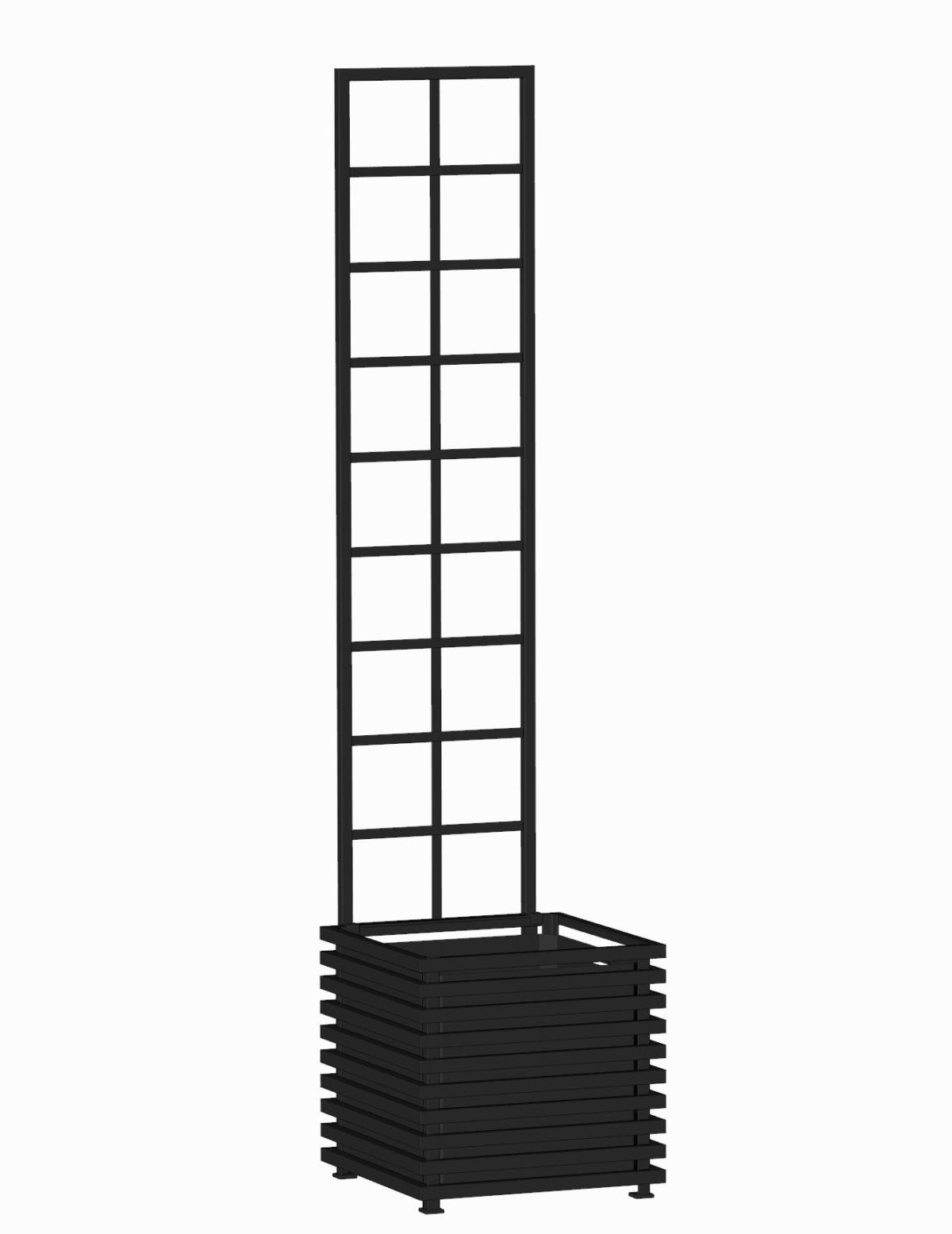 E23-Y-SLD-Großer IBIZA Pflanzkübel mit Spalier. RAL 9005 Schwarz