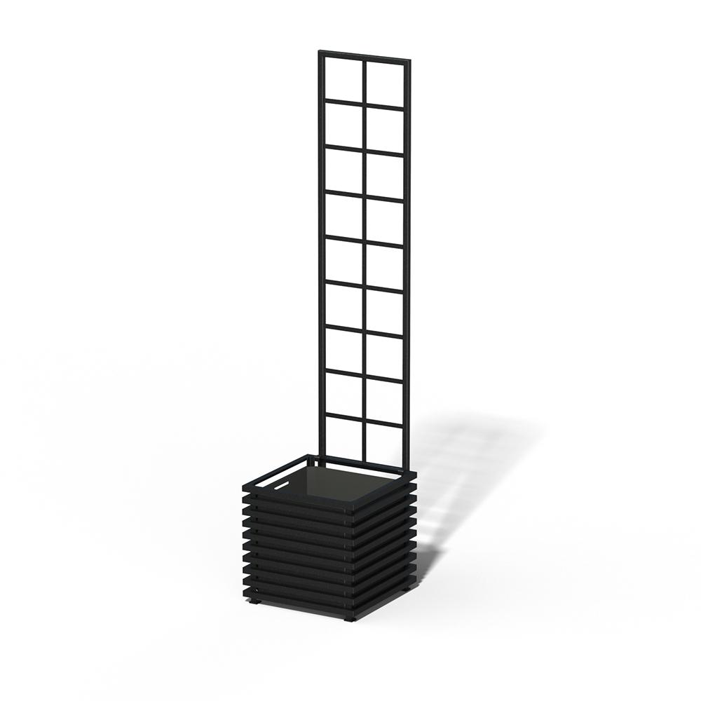 E23-Y-SLD IBIZA Großer Kübel mit Trellis RAL 9005 black