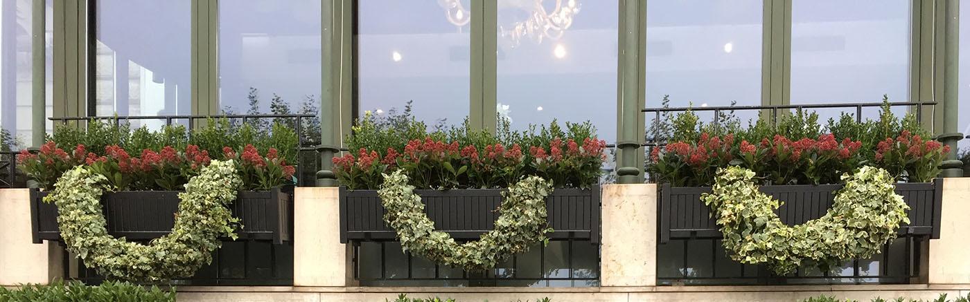 Lange Versailler Pflanzkübel aus Metall. Sonderfertigung für Genfer Hotel