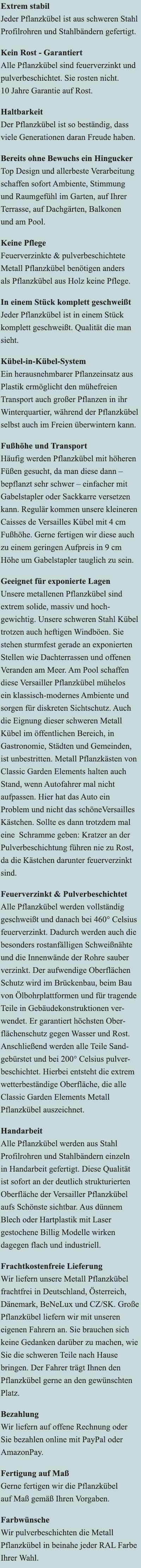 Vorteile Langer Versailler Pflanzkübel aus Metall