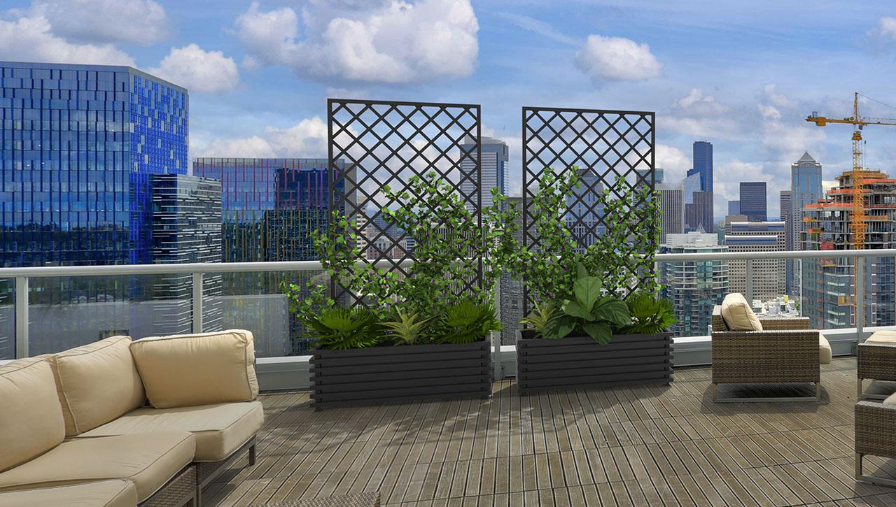 Zwei rechteckige, anthrazitfarbene IBIZA Modern Pflanzkübel aus Metall mit abnehmbaren Rankgittern.