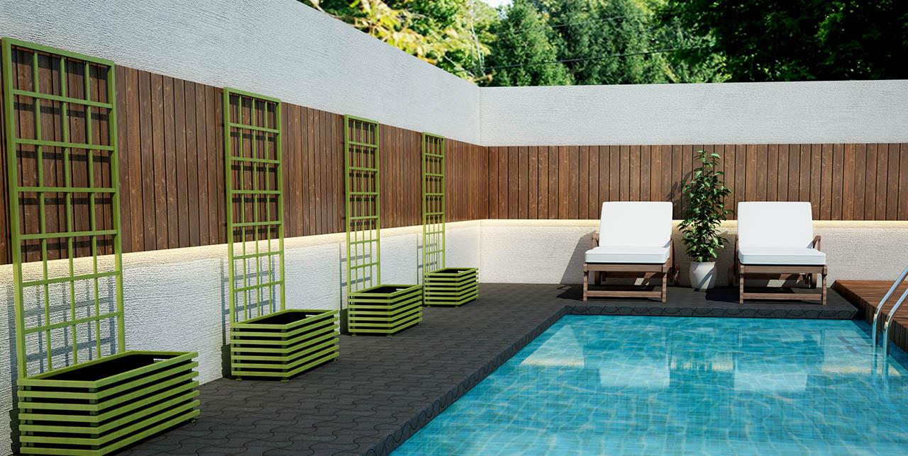 Vier limonengrüne IBIZA Modern Pflanzkübel aus Metall an einem Swimming Pool. Von Classic Garden Elements.