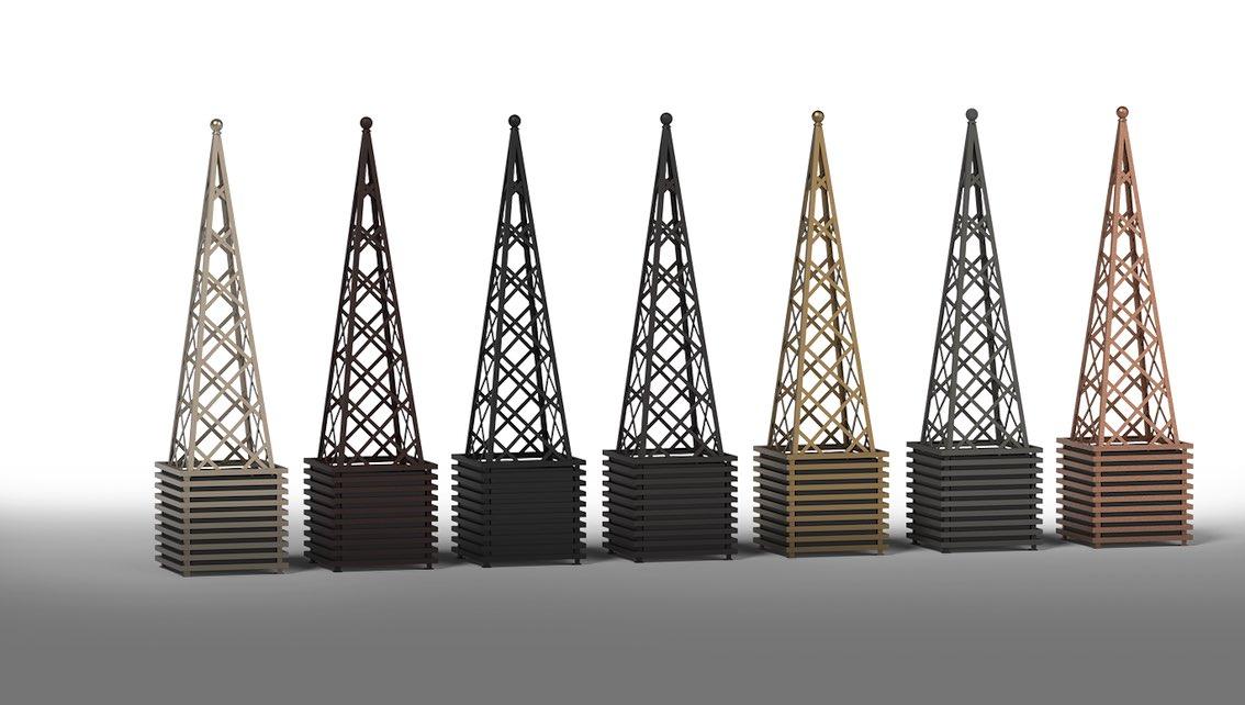7 Pflanzkübel Metall mit Rankpyramide Massiv Stahl
