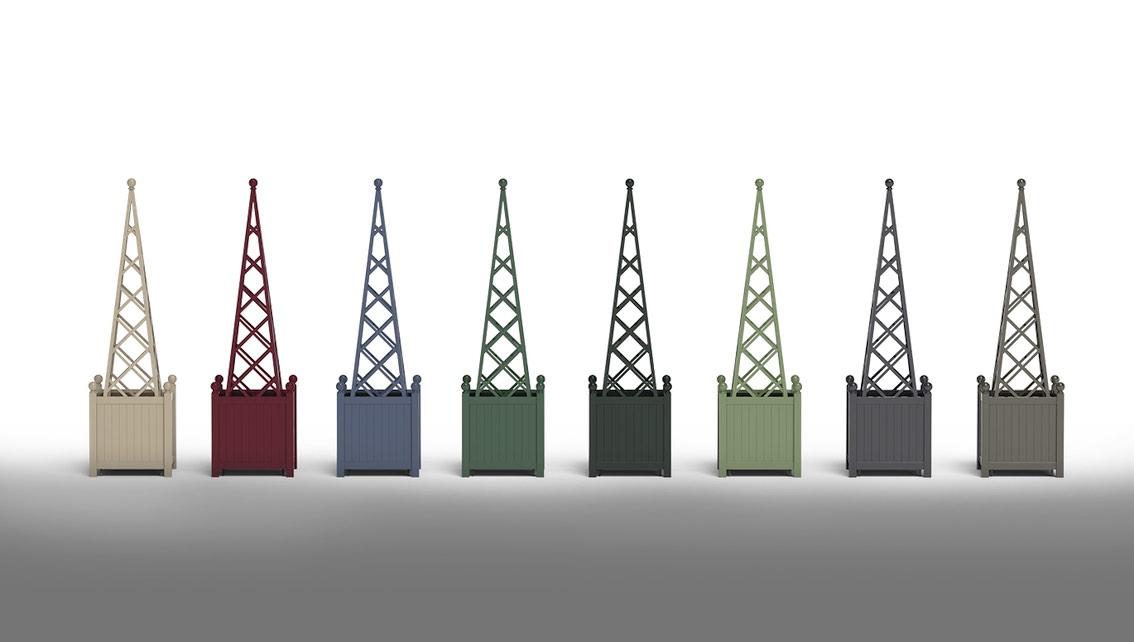 8 Pflanzkübel Metall mit Rankpyramide