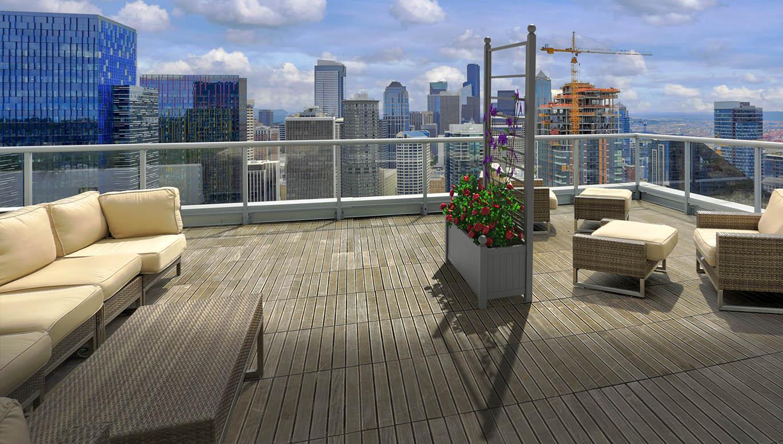 Versailler Pflanzkübel mit integriertem Rankgitter auf Dachterrasse