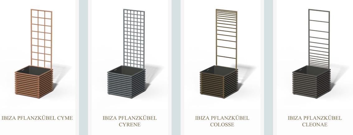 Quadratischer Metall Pflanzkübel Ibiza mit Rankgitter