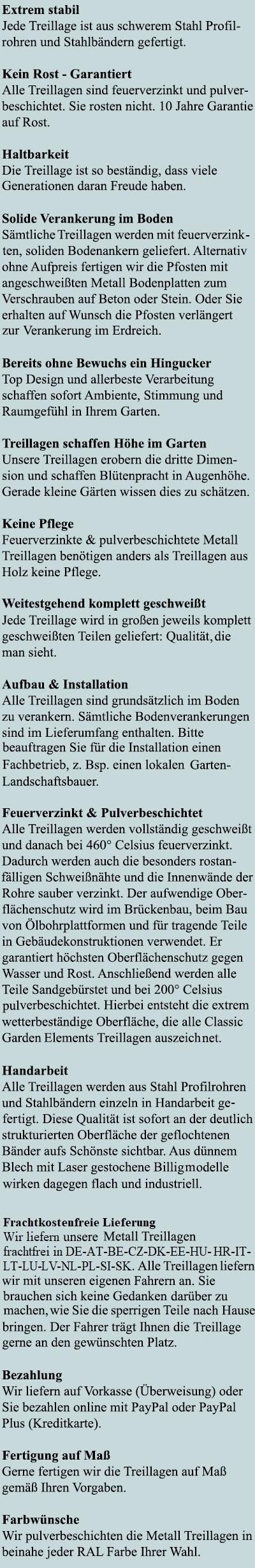 Vorteile der Wessling Terrassen Treillage