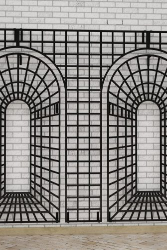 Metall Rankgitter Houghton an großer Fassade