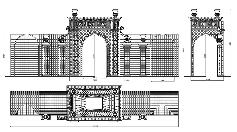 Versailles Treillage LOUIS IV technische Zeichnung