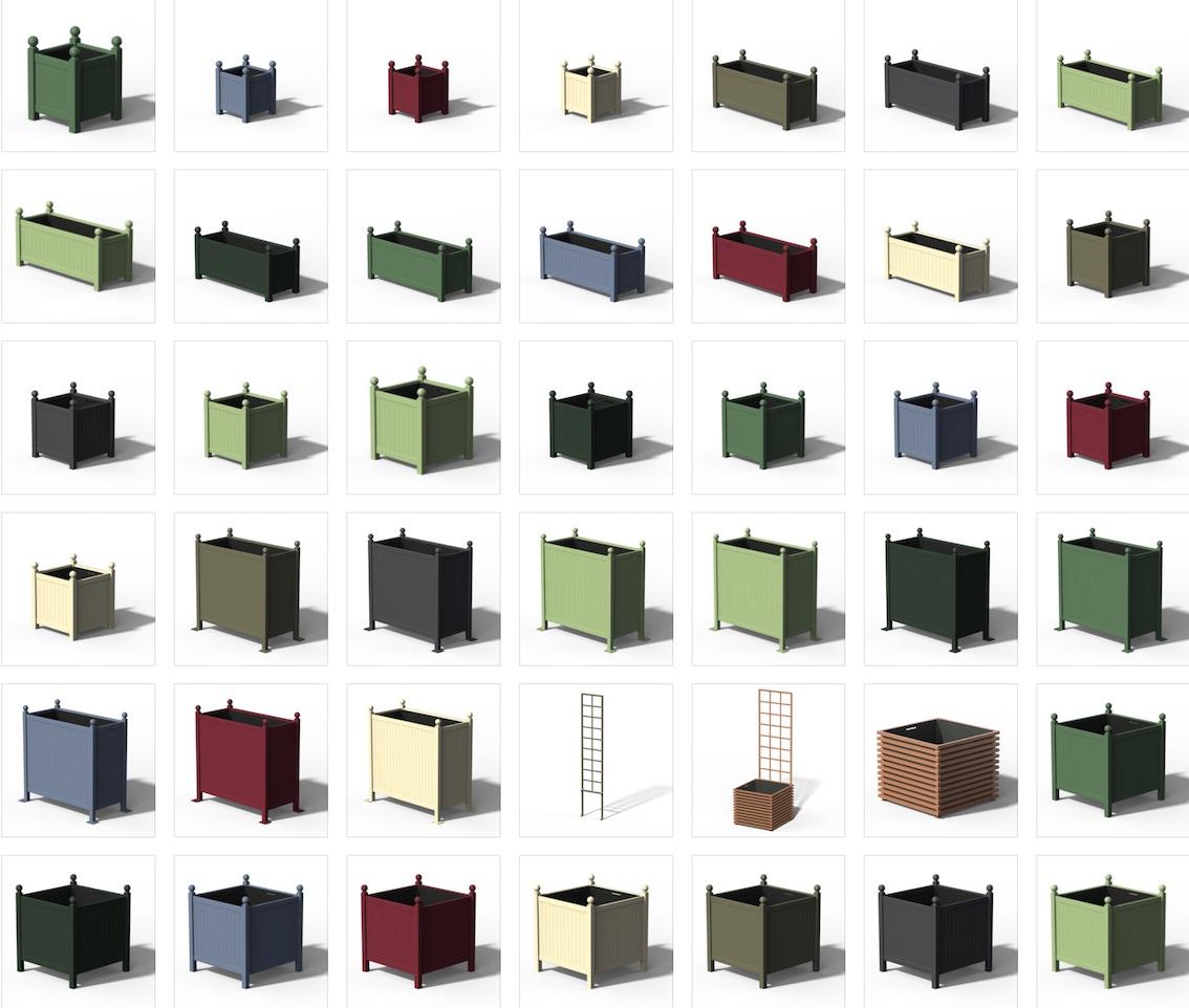 Verschiedene Metall Pflanzkübel im Onlineshop