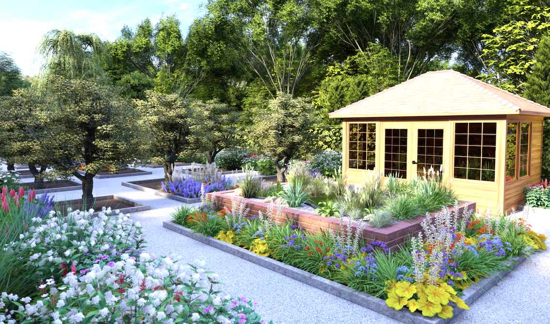 Garten mit Blumen und Bäumen