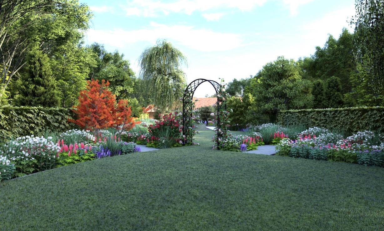 Metall Rosenbogen als Durchgang Garten 1