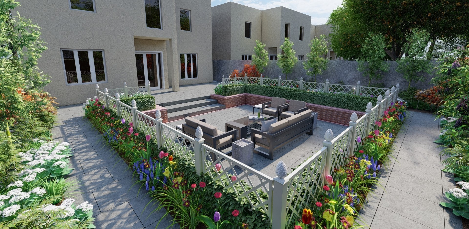 Weißen Restaurant Zäune von Classic Garden Elements im Garden Design von Owen Chub