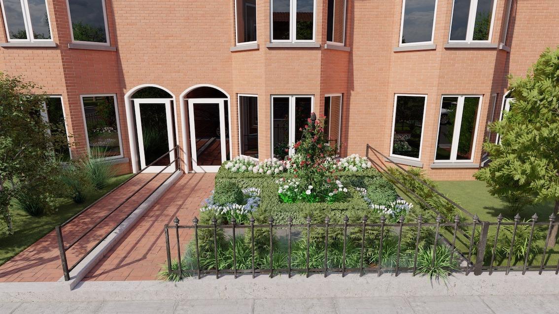 Kleiner Vorgarten mit Rosensäule