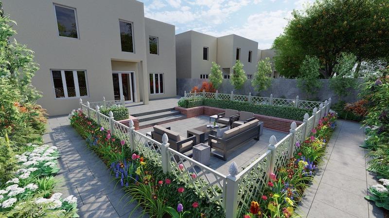 Garten mit Zaun und Blumen